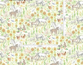 Farm Animal Fabric,  Farm Quilt Fabric, Red Rooster Fabrics Country Days 26617, Heidi Boyd, Pigs, Sheep, Horses, Rabbit, Sunflowers, Cotton