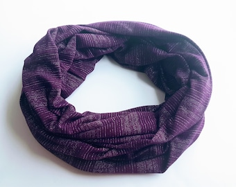 Purple with Silver Stripes Infinity Scarf