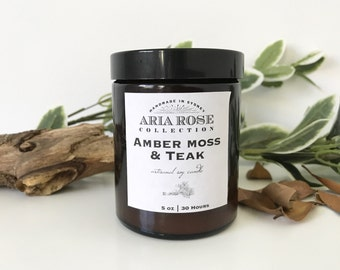 Amber Moss & Teak Scented Soy Candle - 5 oz