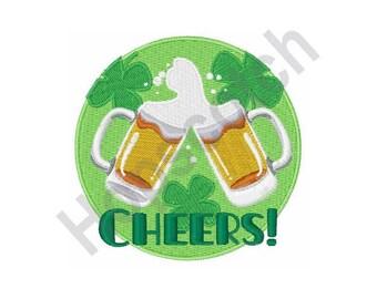 Cheers - Machine Embroidery Design, Shamrocks, Beer, St Patrick's Day