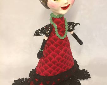 Handmade Lady in Red - Ooak Art Doll
