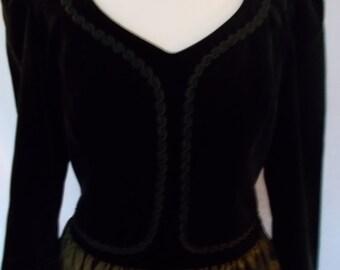 Vintage dress 80s Laura Ashley Black velvet gold evening dress size small medium