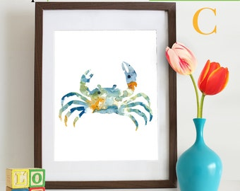 Watercolor Crab Print, Watercolor silhouettes, Sea Life, Beach theme, Nursery Print, Ocean print, Under the Sea, Item  WC003
