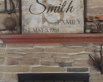 Large Custom Wood Name Sign, Last Name Sign, Rustic Family Est. Sign, Distressed Personalized Name Sign, Personalized Wedding Gift, LG