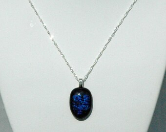 Blue and Black Art Glass Necklace