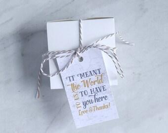 Ziel Hochzeit Gunsten Tag - Reise-Thema Baby Dusche danke - Marine, Petrol und Orange, grau und Gold-Karte - 2 x 3,5 Zoll - 10er-Set