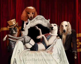 Rocky Horror Dog Show Art Print  - greyhound, saluki, poodle, boxer