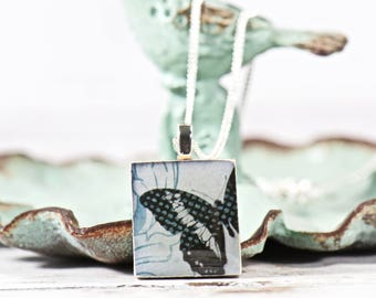 Nature Jewelry, Butterfly Scrabble Tile Necklace, Gift Ideas for Her, Upcycled Jewelry, Scrabble Tile Pendant, Scrabble Gifts, Unique Gifts