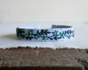 Blue Floral Bracelet - Hand Embroidered Cuff Bracelet - Fabric Jewelry - Gift Under 50
