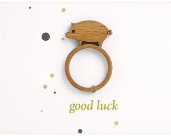 Talisman ring, Luck to Go, good luck ring, lucky pig jewelry, Good luck jewelry, wood ring lasercut, little pig ring, good luck gift