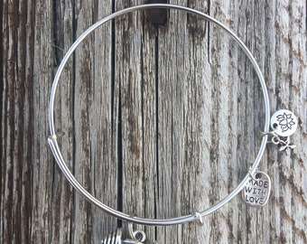 Barbell charm bangle  FREE SHIPPING