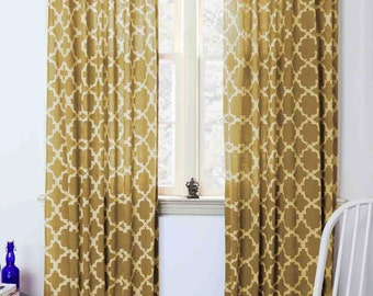 "moroccan Curtains Yellow tiles mustard geometric window curtains block print curtain home living houseware 44 x 84"" - One panel CHAIN LINK"