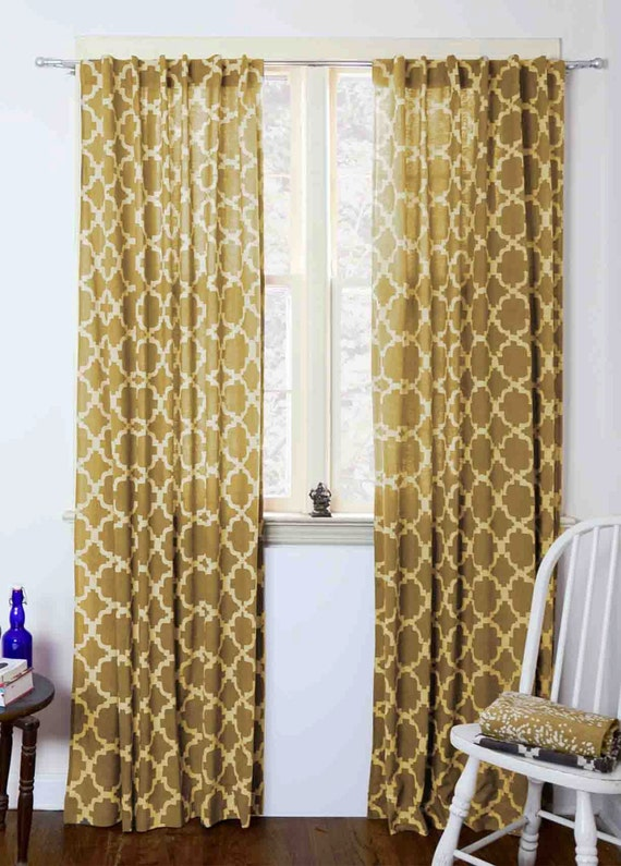 Moroccan Curtains Yellow Tiles Mustard Geometric Window