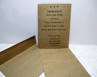 5x7 kraft cardstock etsy kraft wedding invitation card stock 5x7 printable a7 size stationery brown bag kraft stopboris Choice Image