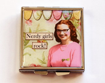 Funny pill case, Nerdy Girls Rock, Square Pill case, Square Pill box, Pill Case, Funny pill box, Pill Box, 4 Sections, humor (4762)