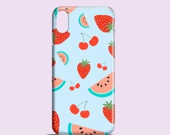 Fruit Salad iPhone X case / iPhone 8 case / Strawberry iPhone 7 case / Light blue iPhone 6S / Fruity iPhone 6, iPhone 5/5S, SE, Samsung S7