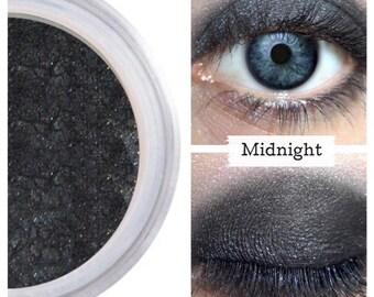 Black Eyeshadow,  MIDNIGHT, Mineral Eye Color, Black Eye Shadow, Black Vegan Eye, Cruelty Free, Natural Black Eye, Black Shimmer, Smokey Eye