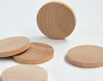 Wood Circles//wood circle blanks//flat wood disks- 5 round wood disks 60mm in diameter.