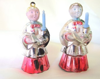 2 Vintage Plastic Christmas Ornaments, Choir Boys with Candles Ornaments