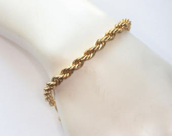 Twisted Rope Chain Bracelet Gold Tone Vintage