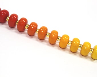 Unique beads in gradual transformation from shiny reds to oranges to yellows, Colorful elegant Ombre beads, polymer Clay beads, set of 15