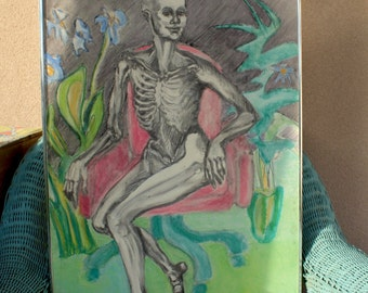 Anatomical Woman Drawing Charcoal & Pastels - 30 x 20 inches Signed Dated 1987 - Half Skeleton Skeletal