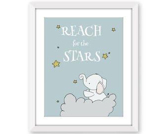 Word Nursery Art -- Reach for the Stars -- Elephant Nursery Art -- Star Art -- Nursery Decor -- Children's Art -- Kids Wall Art