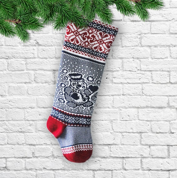 Christmas Stocking Snowman Knitted Christmas Socks BLUE RED