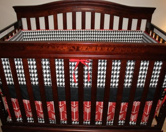 Black Houndstooth, Red Arrow, and Black Crib Bedding Ensemble