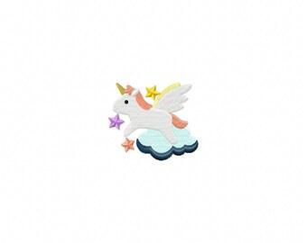 unicorn embroidery design, mini unicorn design, cloud embroidery design, unicorn on cloud embroidery design