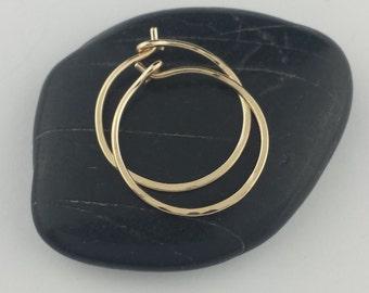 "Small 14k Solid Gold Hoop Earrings, 5/8"" to 1"" Solid 14k Gold Hoop Earrings, 14k Hoops, Hammered Hoop Earrings, Round Hoops"