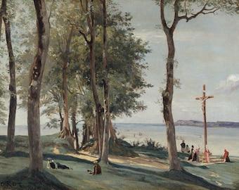 "Camille Corot : ""Honfleur - Calvary"" (c. 1830) - Giclee Fine Art Print"