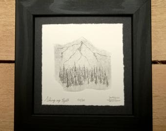 Skog og Fjell with frame (forest and mountain in norwegian) etching