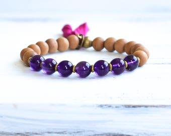 Amethyst Mala Bracelet, Sandalwood Mala Beads, Tassel Bracelet, Sandalwood Bracelet, Boho Jewelry, Yoga Jewelry, Meditation, Healing