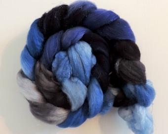 Merino Nylon Sparkle,Ghost of Midnight, superwash Sock Blend,handbemalte Fasern zum Spinnen,100g Kammzug