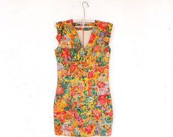 Vintage Bodycon Floral Mini Dress Bright Elegant Sleeveless Summer Beach Dress Size Small S