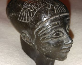 Egyptian style small black stone woman's head sculpture.