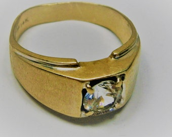 14K Gold Wide Band Cubic Zirconia Ring, Wedding Band, Pinky Ring for Men, Textured Gold, Size 8, Vintage Ring