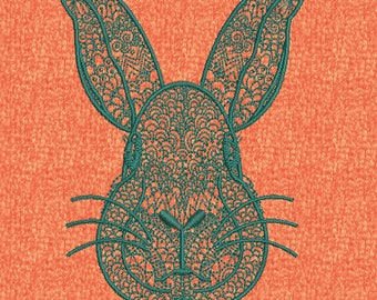 Easter Bunny Rabbit Face Machine Embroidery Henna Mehndi Spring Design