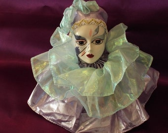 Music Box Clown Jester Doll Head Brinns