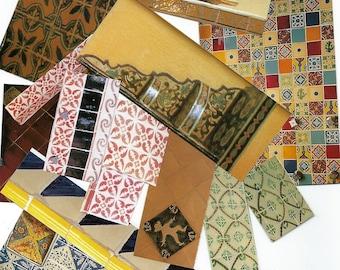 Mexican Tile Paper Clip Art, Clipart, Collage Paper, Scrap Paper Pack, Paper Ephemera for Paper Arts, Collage, Scrapbooking PSS 3628