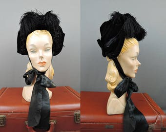 Victorian 1800s Velvet Hat, Black Beaded Bonnet with Feathers XS or Girl's