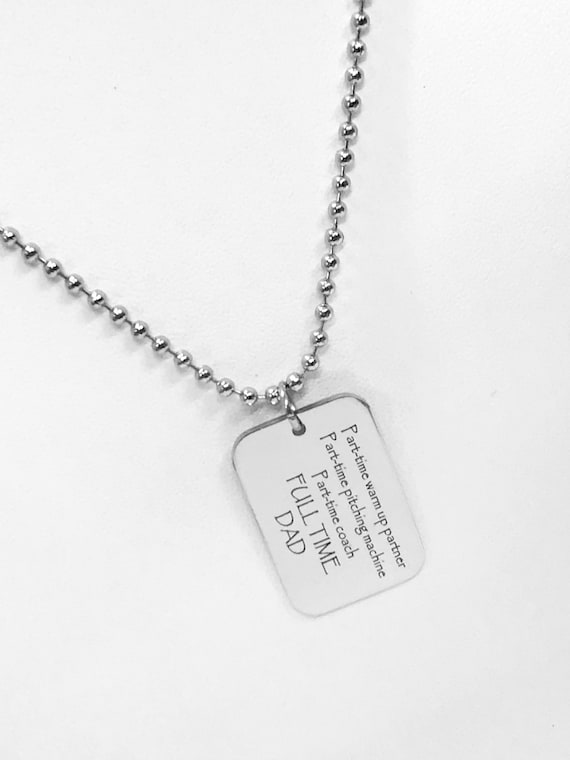Baseball Dad Necklace, Baseball Dad Gift, Baseball Dad Charm, Dad Coach Gift, Fathers Day Gift,  Part-Time Coach, Full Time Dad Gift