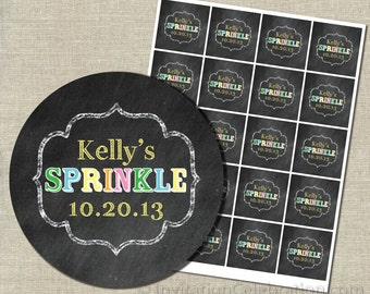 Chalkboard Cupcake Toppers or Favor Tags - Baby Sprinkle Theme - PRINTABLE
