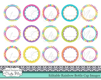 Editable Bottle Cap Images Rainbow Bright: Instant Digital Download