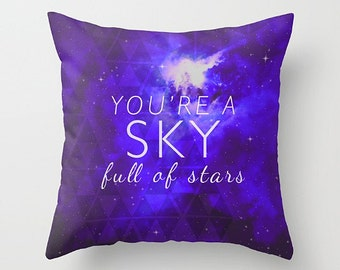 Decorative pillow cover- quote- song lyrics- purple-white- typography- night sky- space-stars-modern home decor
