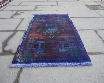 Overdyed rug,door mat,entrance rug,bath room rug,entryway,dark blue rug,decorative rug,amazing colors,low pile rug,distressed rug,31 x 20