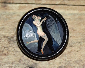 DANCE w ANGEL death Pendant or Brooch or Ring or Earrings or Tie Tack or Cuff Links