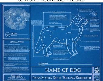 Personalized boxer dog blueprint boxer dog art boxer dog personalized nova scotia duck tolling retriever blueprint duck tolling art duck tolling wall art malvernweather Gallery