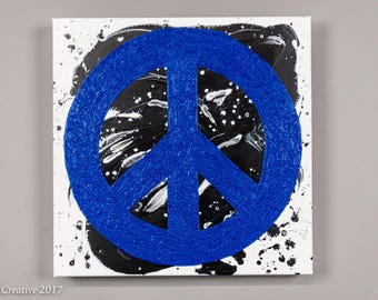 cobalt blue peace sign original painting abstract art acrylic colorful modern artwork on canvas wall art decor- by LNCRCreative 12x12
